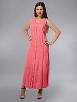 Платье - халат, розовое, хлопок, Индия, на 46-50 размеры