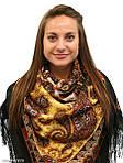 """Павлопосадский платок шерстяной с шелковой бахромой """"Фаворит"""", 125х125 см, рис. 1344-18, фото 3"""