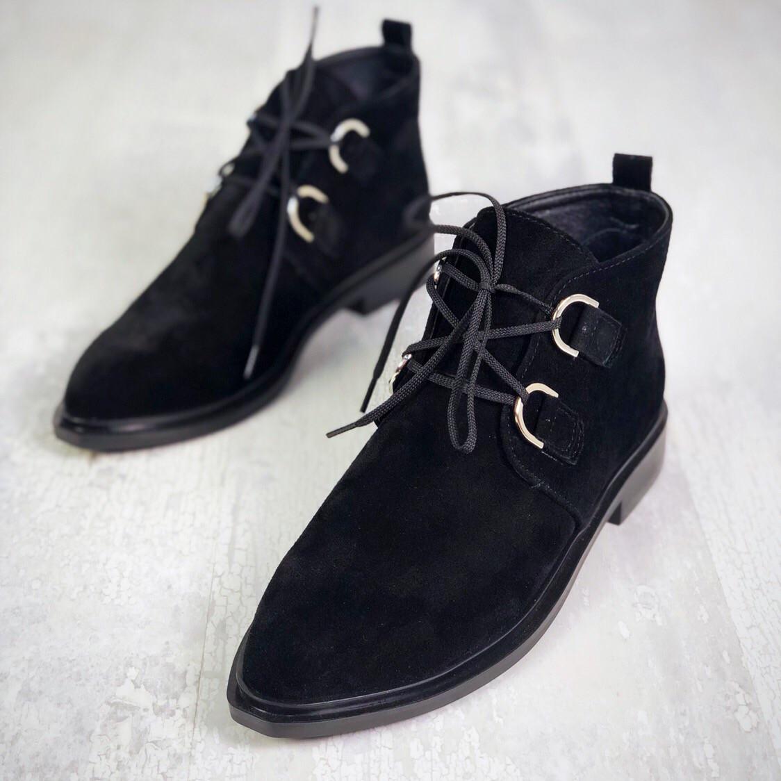 Шикарные замшевые ботинки на низком ходу 36-40 р чёрный