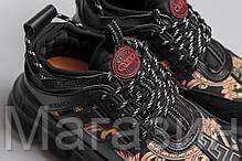 Женские кроссовки Versace Chain Reaction Black Версаче черные, фото 3