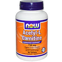 Ацетил-L-карнитин (Acetyl l-Carnitine) Now Foods 750 мг 90 таблеток