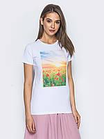 Женская модная футболка с принтом play S 42-44 белый UAJJ027_pm