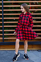 Стильное детское платье-рубашка в клетку с пайетками чёрное с красным 134 140 146 152