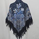 "Платок шерстяной с шерстяной бахромой ""Морозко"", 125х125 см. рис 23-14, фото 3"