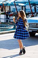 Стильное детское платье-рубашка в клетку с пайетками чёрное с синим 134 140 146 152