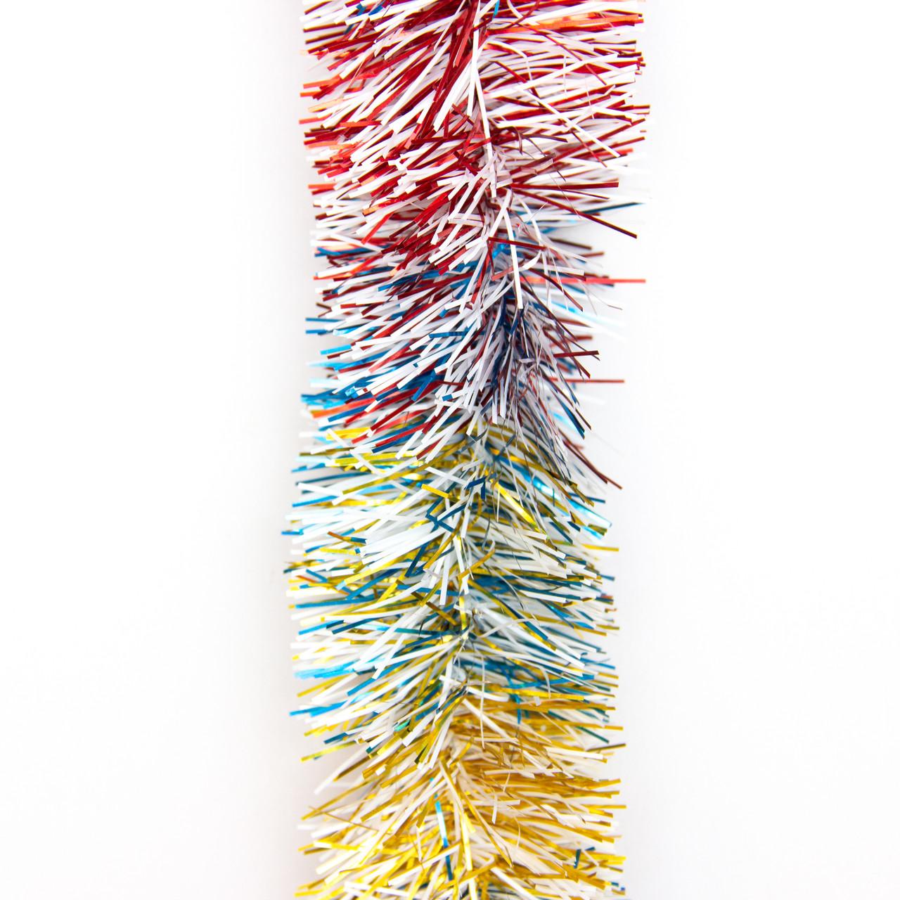 Новогоднее украшение - мишура, 200*5 см, ПВХ, золото-белый-синий-красный (ГРП-50/2-3)