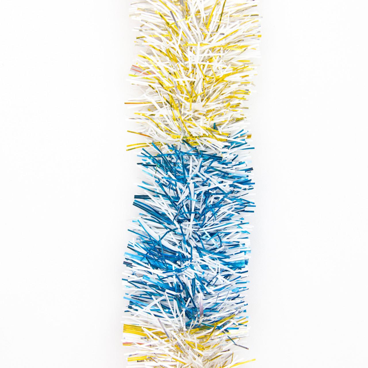 Новогоднее украшение - мишура, 200*5 см, ПВХ, золото-белый-синий (ГРП-50/2-2)