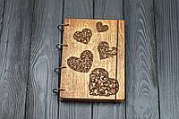 Блокнот А5  Сердечки  Темный из фанеры на кольцах, 60 листов