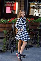 Стильное детское платье-рубашка в клетку с пайетками чёрное с белым 134 140 146 152