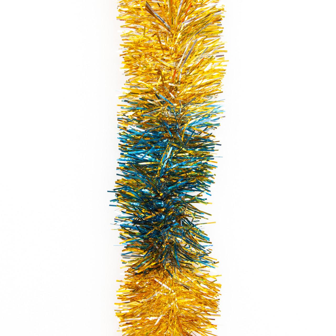 Новогоднее украшение - мишура, 200*5 см, ПВХ, золото-золото-серебро-синий (ГРП-50/2-6)