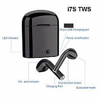 HI-FI беспроводные Bluetooth наушники CASEIER i7S TWS с зарядным устройством-чехлом. Черные.