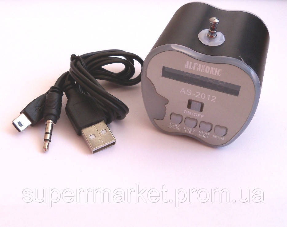 Портативная MP3 USB колонка, FM радио, AS-2012 MP3 SD USB AUX FM