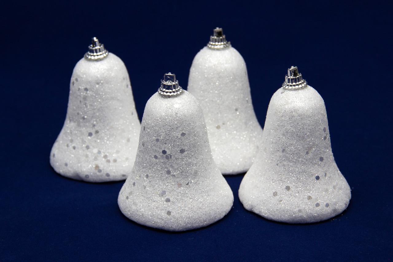 Набор елочных игрушек - колокольчики с блестками, 4 шт, 7 см, белый, пенопласт (200251)