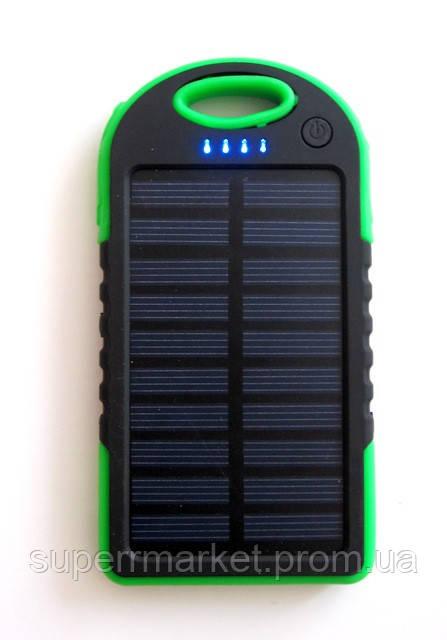 Power bank solar 10000 mAh + зарядка от солнечной батареи  зеленая