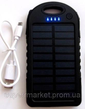 Power bank solar 10000mAh black + зарядка от солнечной батареи  черная
