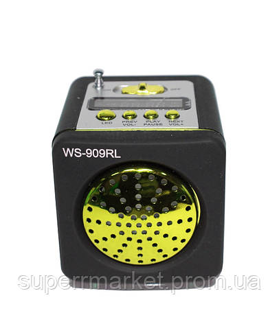 WS-909RL Портативная колонка, динамик с радио MP3 SD USB AUX FM LED, фото 2