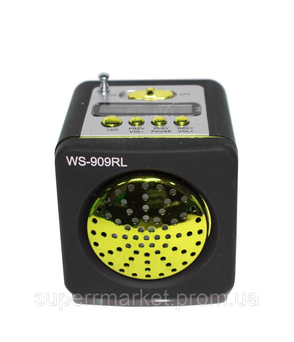 WS-909RL Портативная колонка, динамик с радио MP3 SD USB AUX FM LED