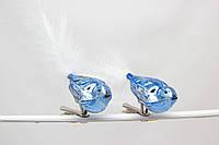 Набор елочных игрушек - птички, 2 шт, 18 см, синий, микс, стекло (390205-4)