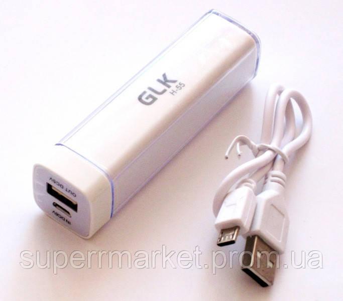 Універсальна батарея mobile power bank 2600 mAh, GLK-H55, white