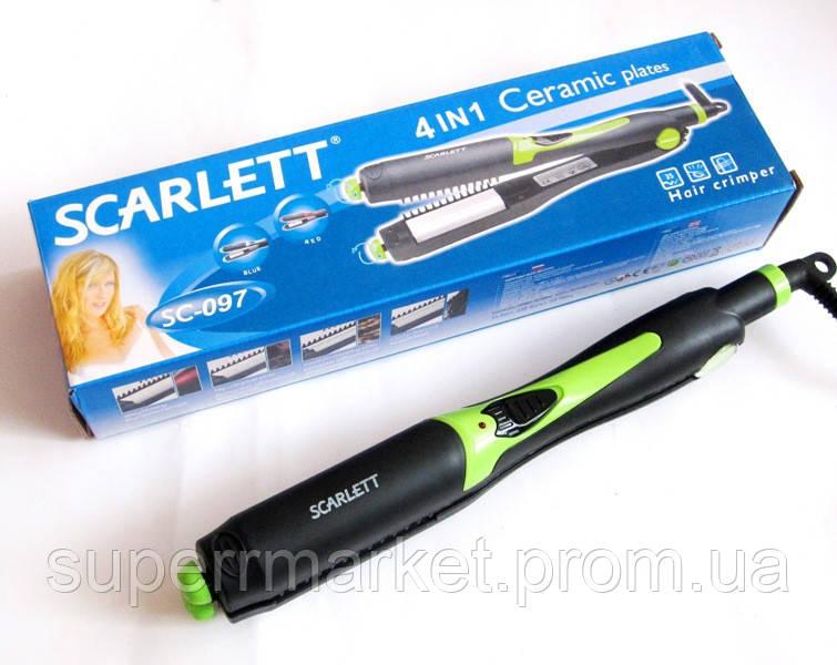 Утюжок-плойка для волос Scarlett SC-097 4в1, зеленая