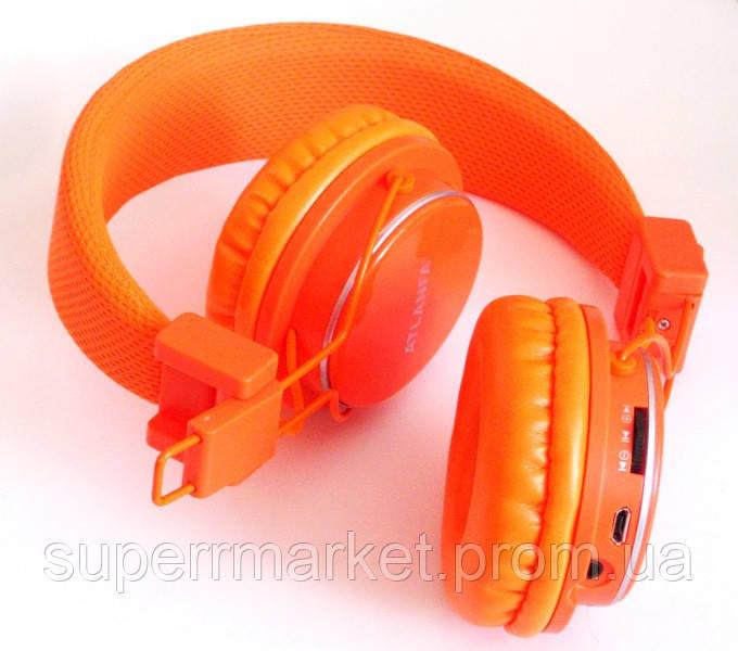 Наушники ATLANFA AT-7611 гарнитура с MP3 FM Bluetooth, оранжевые