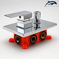 Змішувач для душу прихованого монтажу KVB-03 з перемикачем на 3 положення., фото 1