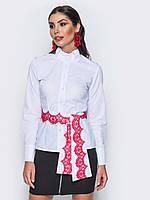 Женская стильная офисная рубашка с декором play S 46 белого цвета UAJJ026_9