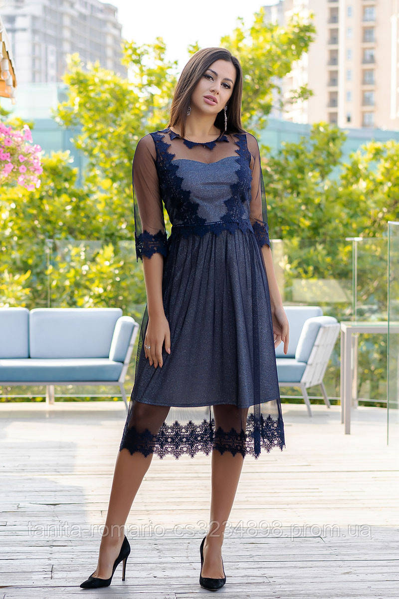 Коктейльное платье 9176e Синий S M L