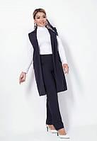 Стильный брючный костюм с жилетом на подкладе 52322 (50–56р)в расцветках