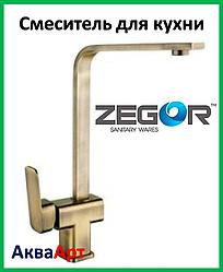 Смеситель для кухни Zegor LEB4-A-KT WKB123 (Бронза)