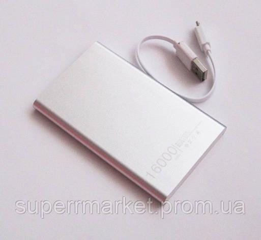 Универсальная мобильная батарея  в стиле mi Xiaomi mobile power bank  16000 mAh, silver, фото 2