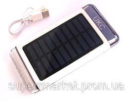UKC Power bank solar 15000 mAh + зарядка от солнечной батареи серебро, фото 2