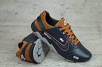 Мужские синие кожаные кроссовки  Nike с оранжевыми вставками