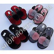 Женские тапочки с открытым носком и ушками в розницу. Модель жт2