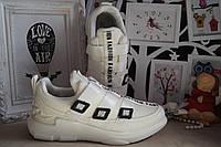 Кроссовки на девочку белые на липучках текстильные 33 р.