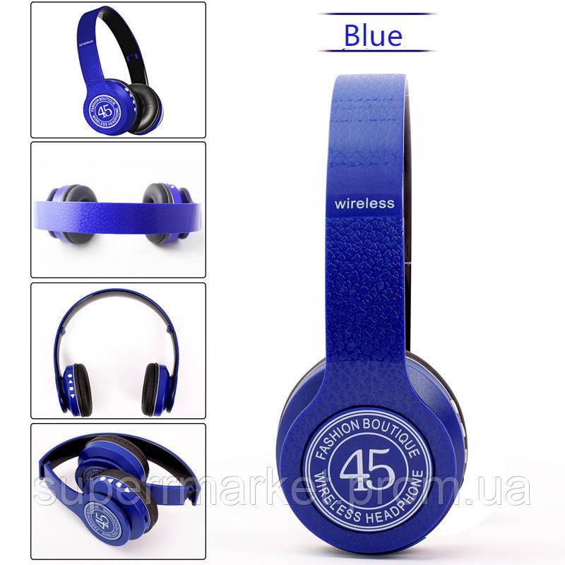 P45 wireless headphone в стиле monster beats solo, Bluetooth наушники с FM и MP3, синие