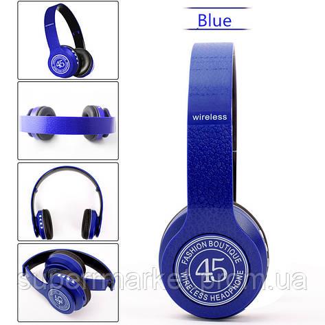 P45 wireless headphone в стиле monster beats solo, Bluetooth наушники с FM и MP3, синие, фото 2