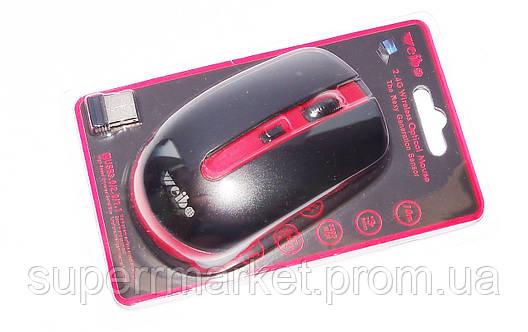 Мышь оптическая беспроводная Weibo RF-4000, черная с красным, фото 2
