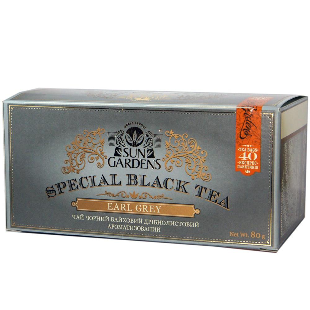 Чай Sun Gardens чорний Earl Grey Special Black Tea з бергамотом 40 пак.