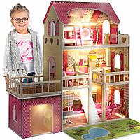 Деревянный домик для кукол Kinderplay с подсветкой LED