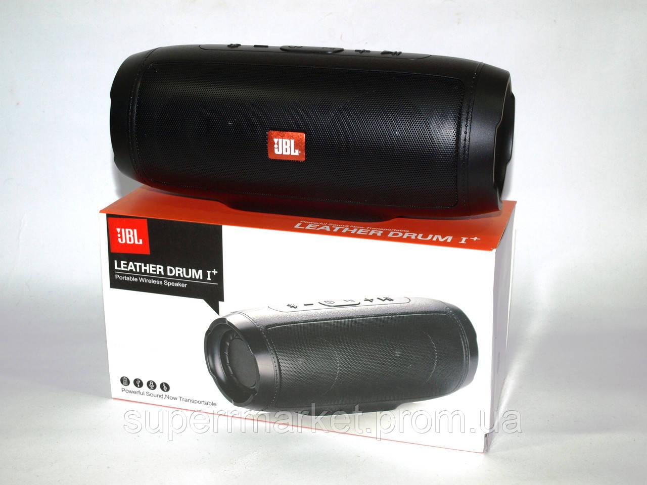 Беспроводная колонка JBL LEATHER DRUM I+ 10W с FM Bluetooth AUX MP3 USB microSD Powerbank, копия черная