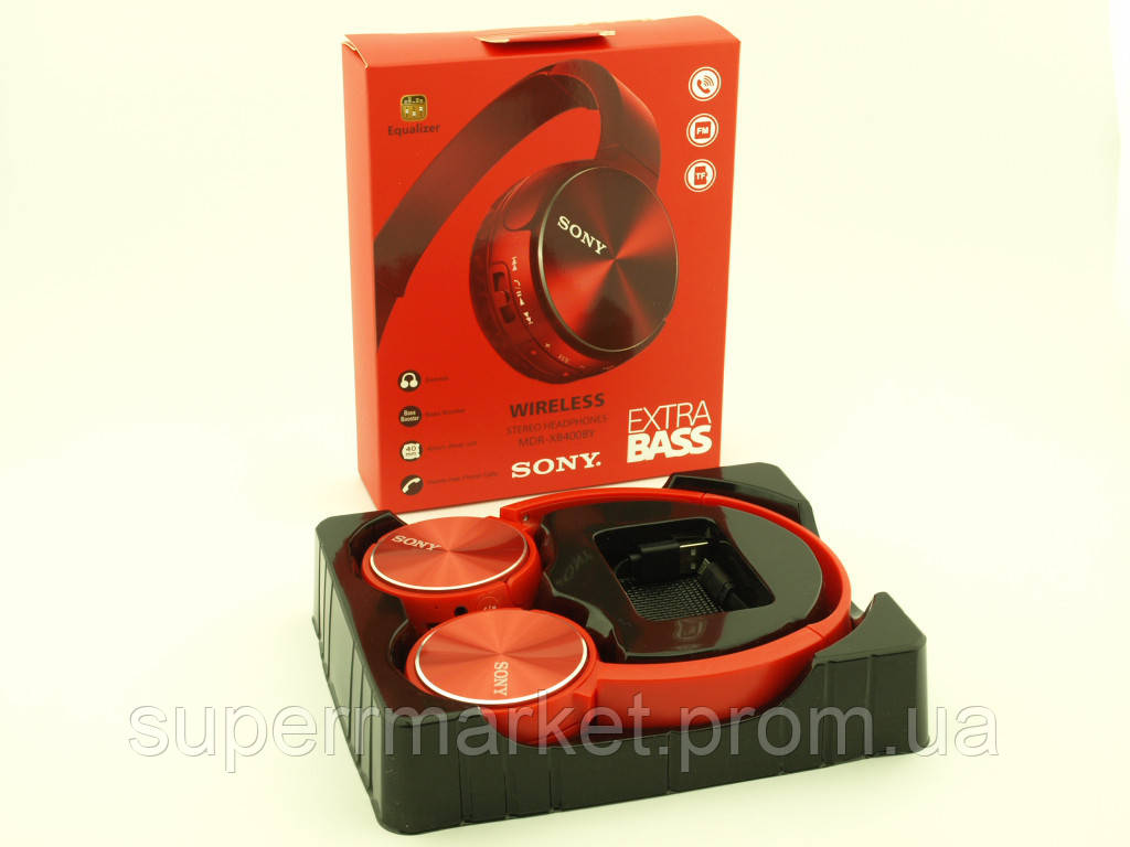 SONY MDR-XB400BY Bluetooth наушники гарнитура c FM MP3 реплика, красные