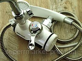Кран LZ008 Делимано с душем 3000W, Проточный водонагреватель с вертикальным подключением, фото 3