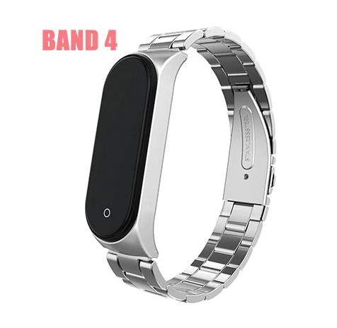 Металлический браслет MIJOBS для фитнес трекера Xiaomi mi band 4 / 3 аксессуар замена цвет серебристый