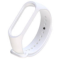 Силиконовый белый ремешок на фитнес трекер Xiaomi mi band 4 / 3 браслет аксессуар замена