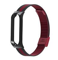 Металлический браслет красно-чёрный для фитнес трекера Xiaomi mi band 4 / 3 ремешок аксессуар замена