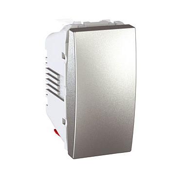 Выключатель 1-кл. проходной (1 мод.), алюминий. Unica Top MGU3.103.30