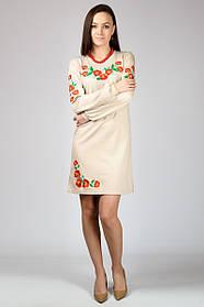 """Платье-вышиванка """"Маки""""№4 (длинный рукав) Беж"""