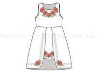 Заготовка детского платья для вышивки бисером «Маки веночек»