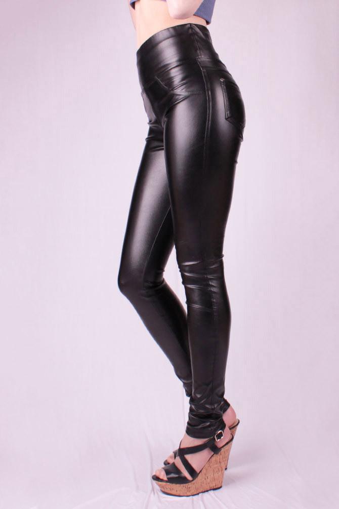 Леггинсы кожаные утяжка, черные